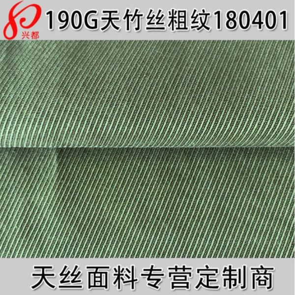 180401天竹丝粗纹面料 经向天竹丝纬向天丝斜纹面料