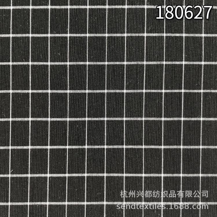 180627天丝锦纶弹力色织格子布 平纹天丝色织弹力面料