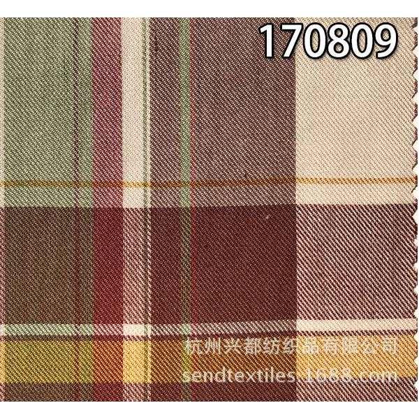170809全天丝斜纹色织格面料