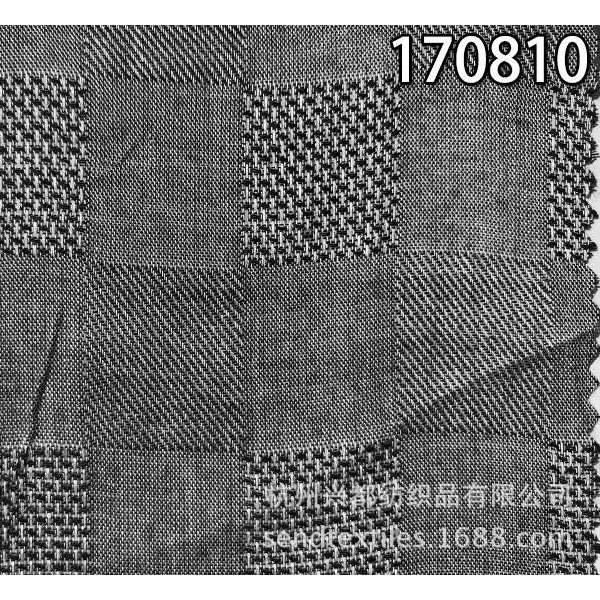 170810纯天丝色织格提花面料