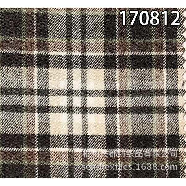 170812纯天丝色织格拉毛面料 莱赛尔服装面料