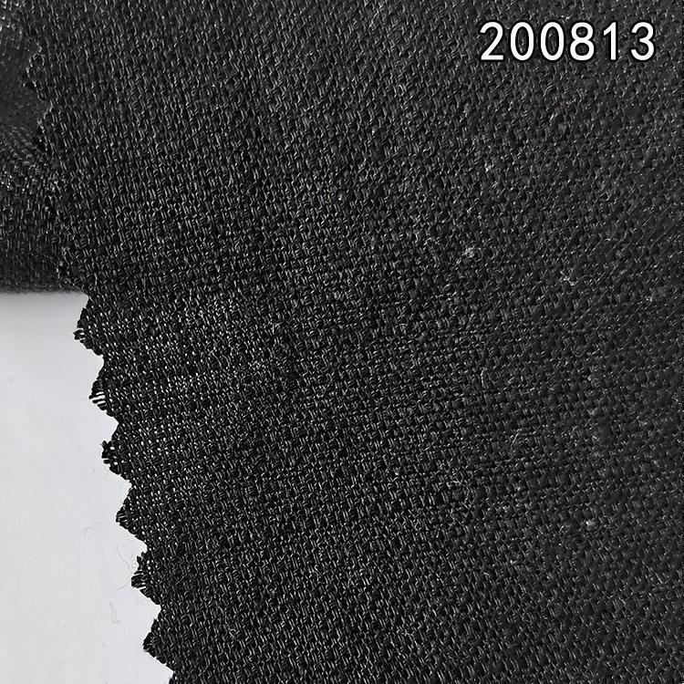 200813天丝麻格子布秋冬女装连衣裙外套面料 多臂梭织布