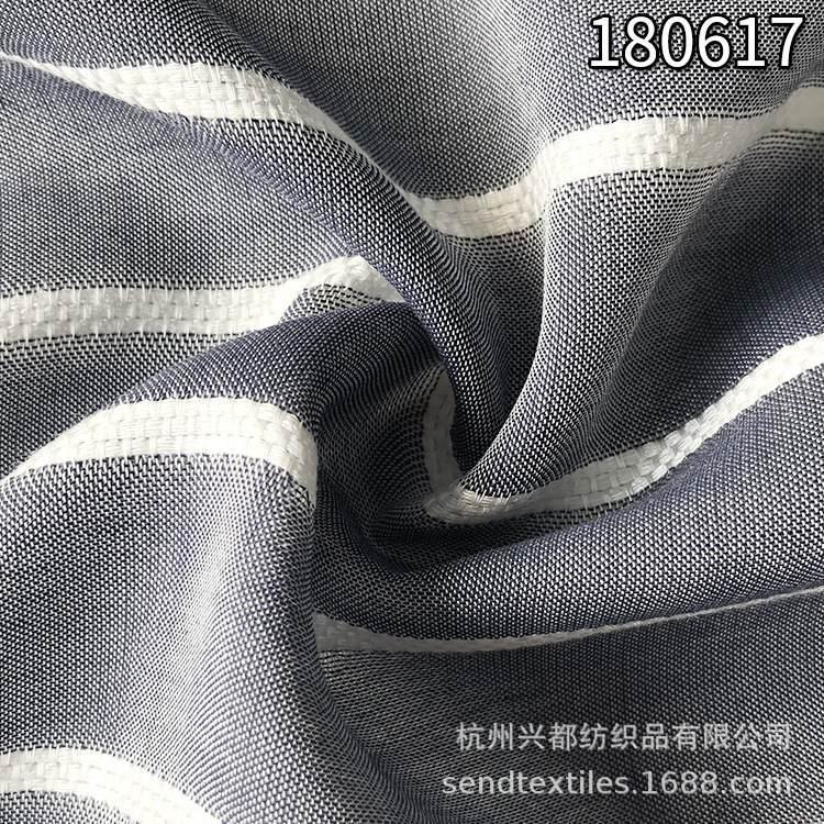 180617天丝人棉横条色织布 平纹天丝粘胶横条面料