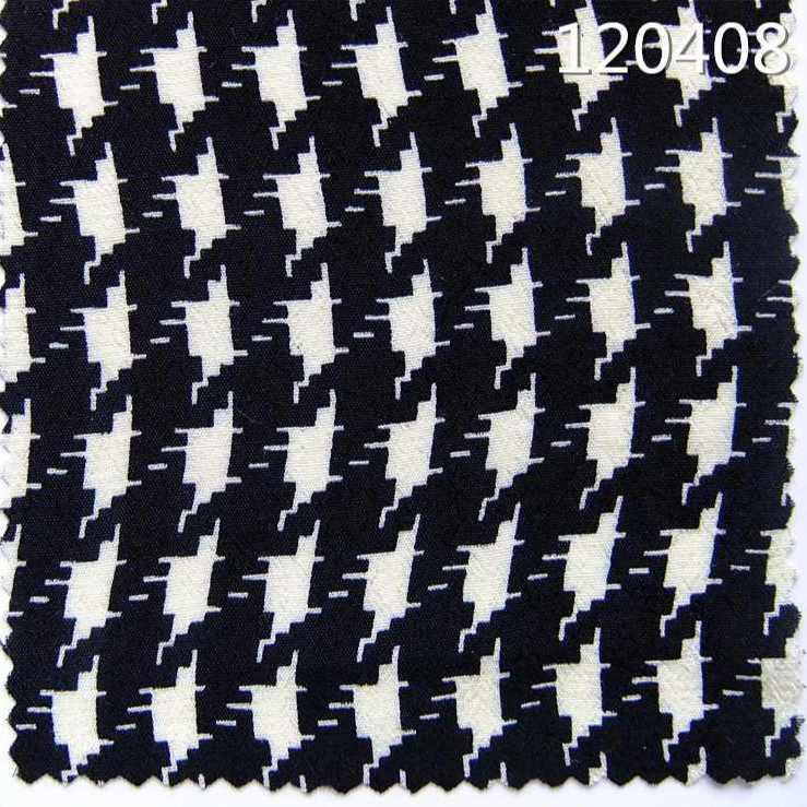 120408平纹人丝人棉绉布千鸟格印花面料