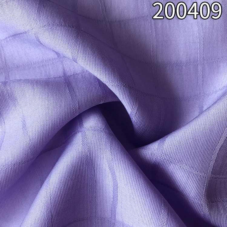 200409 不规则线条涤天丝格子提花面料