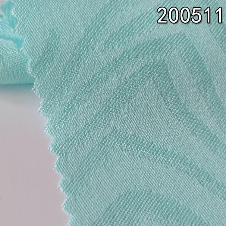 200511提花人棉不规则线条服装面料