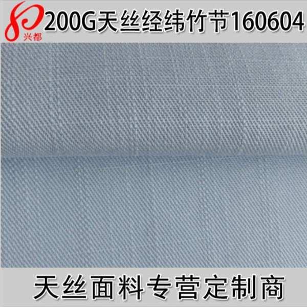160604纯天丝经纬竹节斜纹服装面料