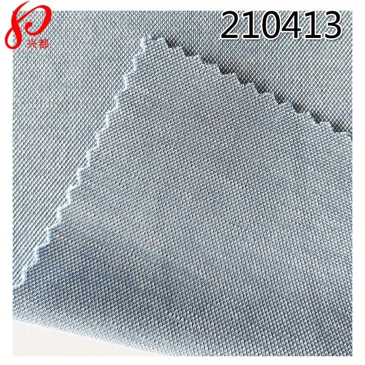 210413针织莫代尔面料双色珠地 68%莫代尔32%涤针织布