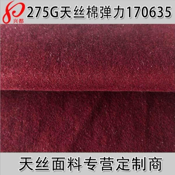 170635天丝棉弹力贡缎磨毛 天丝外套风衣面料